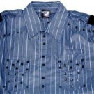 Mens blue long sleeve button up shirt by Blac Label L-3X Blue Stripe Long sleeve