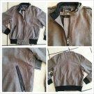 Brown plaid  long sleeve jacket Men's Tan Brown military style jacket coat XS-S