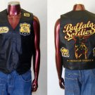 Buffalo Soldiers Black Leather Vest Buffalo Soldiers Sleeveless Motorcycle Vest