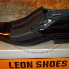 Leon Shoes Black dress shoe Mens Black slip on shoe loafer Black Shoe 10US NIB