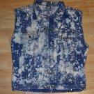 sleeveless denim jean vest Bleach Wash Disstressed Denim jean Vest Jacket XL