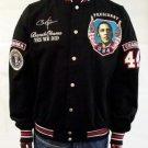 President Barack Obama Black Twill Jacket Obama Rhinestone Race Jacket  3X-4X
