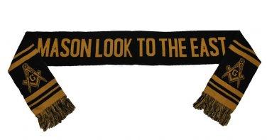 Freemason Masonic black gold scarf Mason fraternity neck scarf  Mens scarf