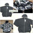 Black Gray Camouflage Hooded Sweatshirts PRO CLUB Reversable zip up Hoody M-5X