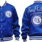 Zeta Phi Beta Blue White Jacket Zeta Phi Beta Satin Baseball Coat Jacket S-3X
