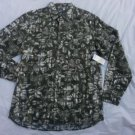 Mens Green White Floral Print long sleeve button up shirt Olive Green Shirt M