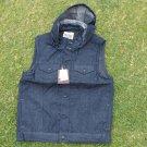 Blue Denim Jean sleeveless down vest hoody jacket Hoodie Hoody jean jacket M-2