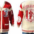 Kappa Alpha Psi Red Long Sleeve Cardigan sweater  NUPE PHI NU PI SWEATER
