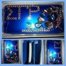 Sigma Gamma Rho Blue RHINESTONE TRIFOLD CHECKBOOK CLUTCH WALLET PURSE CLUTCH