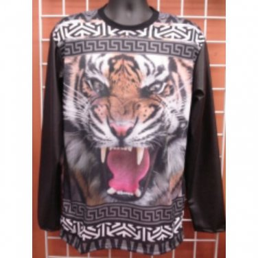 Sublimation Lion image long sleeve T-SHIRT Black sublimationT shirt M-2X