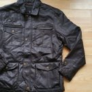 Dark Brown leather jacket Vintage style Quater Length leather Coat M