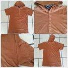 Rust Brown hoodie Jacket  Men's short sleeve short sleeve hoody shirt top M-2XL