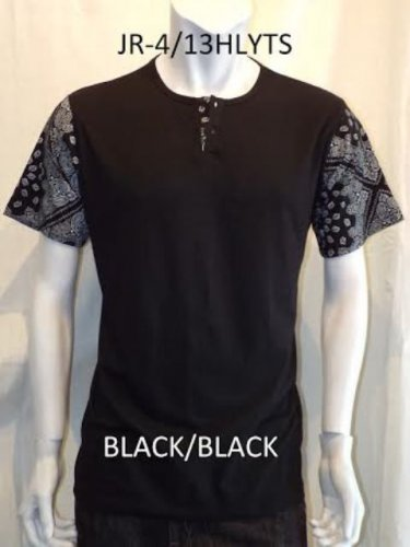 Black Black Bandana T-shirt Bandana Print henley T-shirt Mens henley Tee S-XL #4