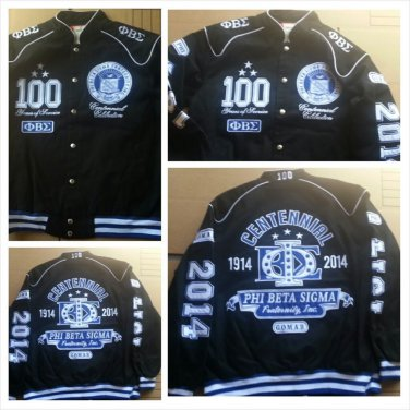 Phi Beta Sigma 100 YEAR Centennial Coat Black Phi Beta Sigma Race Jacket M-5X