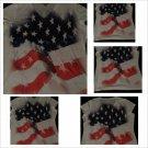 WOMEN'S JUNIORS WHITE V-NECK T- SHIRT STARS AND STRIPES U.S.A. FLAG L-XL NEW