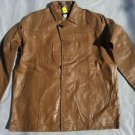 Men's tan leather long sleeve jacket Vintage style Quater Length leather Coat XL
