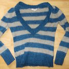Caslon Blue Gray long sleeve V neck sweater Lady's stripe long sleeve sweater M