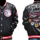 Tuskegee Airmen  Jacket 332 REDTAILS Black Jacket Black Satin long sleeve Coat