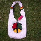 Peace Sign Canvas Shoulder Bag Red Black Green canvas shoulder bag purse pack