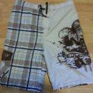 Boys Brown White blue board casual shorts OP plaid swim trunks shorts 14/16