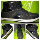 Mens black High Top Sneaker shoe white bottom high top sneaker boot shoe 8.5-13