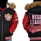 Womens Black Red Wool Negro League jacket Lady's Red Wool Negro League Jacket