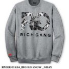 RICH GANG Gray Pullover Sweatshirt Rich Gang by Birdman Long Sleeve Sweater M-3X