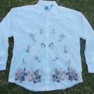 Brooklyn Express White long sleeve button up shirt Stiched design dress shirt XL