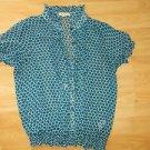 XXI Aqua white short sleeve blouse shirt Womens poka dot short sleeve shirt M