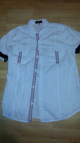 White short sleeve button down shirt White casual short sleeve button up top XL