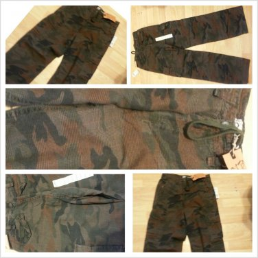 Brown Camoflauge Cargo Pants Adult Army style Cargo Pants bottoms 30Wx32L NWT