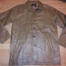 Mens tan leather long sleeve  jacket Vintage style Quater Length leather Coat M1