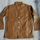 Tan leather long sleeve jacket Vintage style Quater Length leather jacket coat L