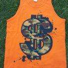 Camouflage Dollar sign sleeveless tank top Orange dollar sign tank top  M