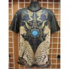 Sublimation Cheetah image short sleeve T-SHIRT Black sublimationT shirt M-2X