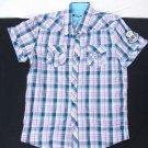 Blue white short sleeve plaid button up shirt Mens button up plaid shirt L-XL