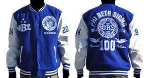 Phi Beta Sigma 100 YEAR Centennial Varsity Jacket Blue White Wool Varsity M-5X
