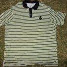 Green white black Rocawear short sleeve Stripe polo shirt Rocawear polo shirt L
