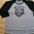 Parish Nation crew neck long sleeve T-shirt Black Gray raglan tee shirt 4X