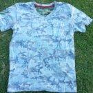 Gray Camouflage short sleeve V-Neck T shirt Camouflage V neck Pocket T-shirt XL