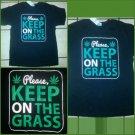 Mens black short sleeve marijuana T-shirt Please Keep on the Grass Tee Bud Tee L