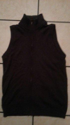 Dark Gray sleeveless vest sweater Oscar De La Renta Sleeveless Zip Up Vest S