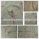 Womens Capri Bermuda Pants Lime green white Striped Cropped Womens SZ 10 MINT