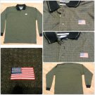 MEN'S USA  AMERICAN FLAG JULY 4 brown Long Sleeve Patriotic Polo Shirt XL NWOT