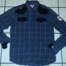 Akademiks Black Grey Military style plaid long sleeve button up shirt L