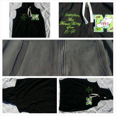 Black Sleeveless Varsity Hoody jacket Black zip up sleeveless hoodie vest S-XL