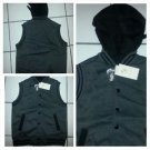 Charcoal Gray Sleeveless Hoody jacket Black zip up sleeveless hoodie vest S-XL