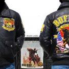 Mens Black long sleeve leather Buffalo Soilder jacket M-5XL Buffalo Soilder Coat