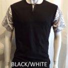 Black White Bandana T-shirt Bandana Print henley T-shirt Mens henley Tee S-XL #3