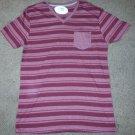 Burgundy stripe short sleeve V neck T shirt Mens Stripe V-neck pocket shirt L